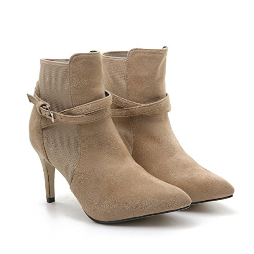 CXQ-Boots qin&X Women's Stiletto High Heels Pointed Toe Ankle Boots Shoes Khaki PSWVa