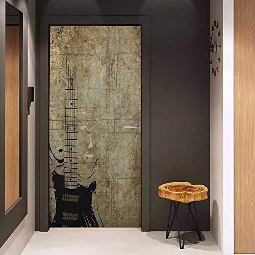 - Toilet Door Sticker Guitar Faded Instrument Pattern with Vintage Inspired Background with Stained Design Glass Film for Home Office W35.4 x H78.7 Pale Brown Black