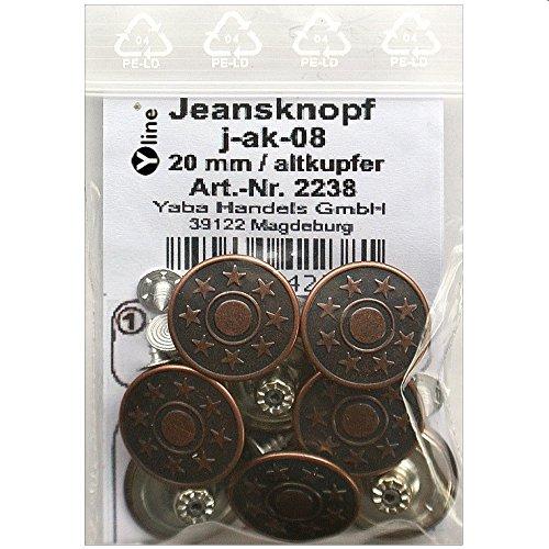 8 Jeans Knöpfe altkupfer 20 mm, Jeansknöpfe Metallknopf, Metall Knöpfe, nähfrei, im Polybeutel, j-ak-08
