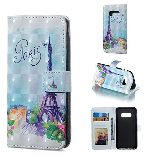 Amocase Wallet Leather Case with 2 in 1 Stylus for Samsung Galaxy S10E,Premium Slim Cute 3D Painting Shockproof Magnetic PU Leather Card Slot Stand Case - Paris Tower