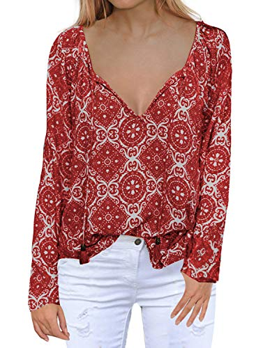 MIHOLL Women's Red Blouse Floral Printed Chiffon Soft Comfy Loose Tops (X-Large, Red)
