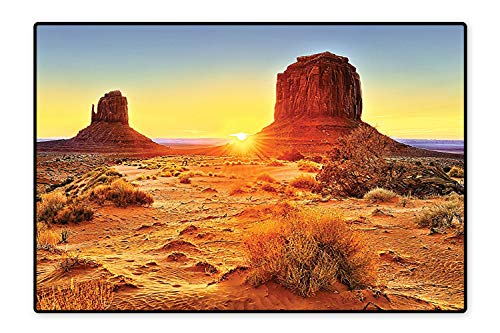 Living Room Rug Monument Valley Tribal Park with Sunset and Big Carved Stone Indian Lands Print Brown Blue Stain Resistant 6'6