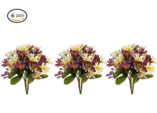 Garwarm 6PCS Artificial Flowers,Silk Daisy, Artificial Gerber Daisy, Artificial plant for Home Decor,Office, Wedding,Garden,Patio (Purple Gerber Daisy)