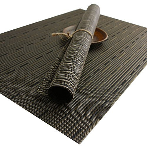 Yo FUN PVC Place Mats Heat Proof Washable Dinner Anti-Skid Weave Placemats Japenese Insulated Table Mats for Dining Table Set of 6 - 30x45CM, Coffee