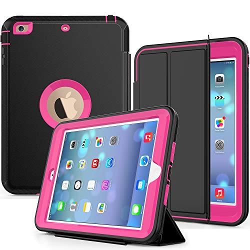 SEYMAC Compatible with iPad Mini Case, Smart Case with Three Layer Heavy Duty Auto Sleep Wake Function Cover Drop Proof [Rugged] Full Body Protective Case for Apple Mini 1/2/3 Generation (Black/Rose)