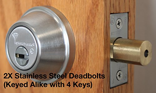 Mul-T-Lock Interactive+ Cronus High Security Grade 2 Single Cylinder Dead-Bolt w/Thumb Turn. Commercial or Residential Metal or Wood Doors (5) Stainless Steel - Two Keyed Alike)