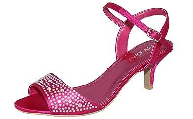 4240d1e10163b1 Rose Fushia pour Femme à Talon Bas Noir en Satin Violet Strass-Chaussures  Sandales pour