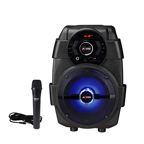 AXESS PABT6001 Portable Karaoke System, Supports USB player, FM Tuner, Aux Line-in, Mic Input with Built-in Rechargeable Battery, Includes 1 Wired Mic