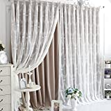 YOU SA Custom Curtain European Style Windows Curtain Grommet Top Luxury Lace Elegant Curtains For Living Room Curtains Set(2-Panel/52''W by 102''L/Coffee)