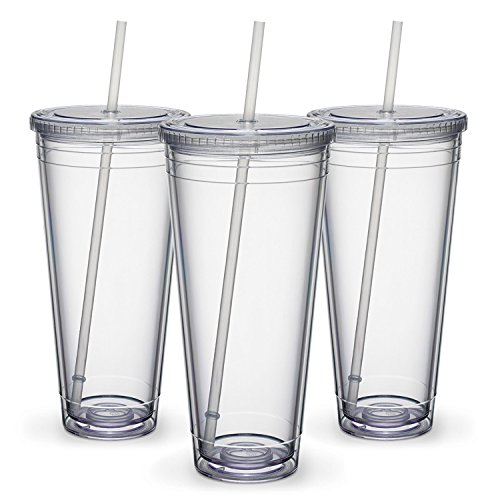 Maars Insulated Travel Tumblers 32 oz. | Double Wall Acrylic | 3 (Plastic Tumbler With Straw)