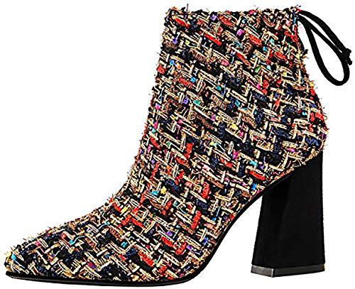 Éclair 8 Femme QTZZZ 5CM Fermeture Chaussures Noir Bloc Bottes Vaneel wPdqxFYEP
