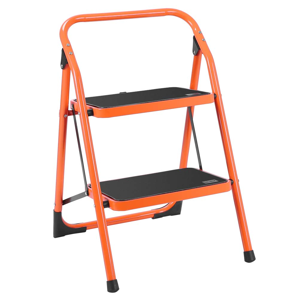 LUISLADDERS 2 Step Ladder Folding Stool Sturdy Steel Ladder 330lbs EN131 Portable Step Stool Anti-Slip and Wide Pedal Sturdy Steel Ladder Multi-Use for Home,Garden and Office