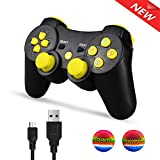 axis controller - AIRUIDE PS3 Wireless Controller, Double Shock SIXAXIS Gamepad Remote for PlayStation 3, Charging Cable and 2 Thumb Grip Caps Included (Yellow)
