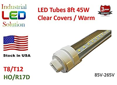 30-Pack LED 8Ft Tube Light Bulb, 3000K (Warm white), Clear cover with R17D connector ends, T8/T10/T12, 85V-265V AC, 45W - 4800 Lumens (75W Fluorescent equivalent)