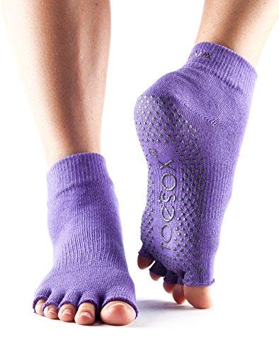 ToeSox Women's Grip Half Toe Ankle Socks, Small, Light Purple