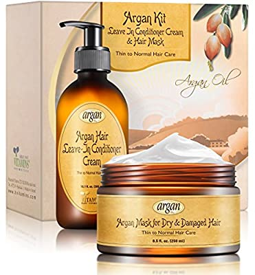 Leave-In Conditioner & Hair Mask Argan Kit - Thin to Normal Hair Care - Exclusive Herbal Oils Complex - Moroccan Moisturizer Anti Frizz Cream 10.1 oz and Deep Conditioner 8.5 oz Set