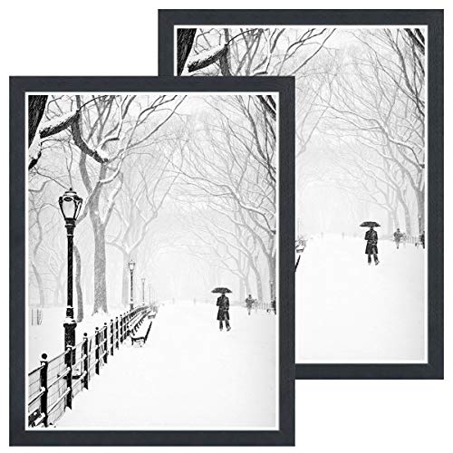 DBWIN 18×24 Picture Frame Black Wood Pattern Poster Frame Plexiglass Front 2 Pack for Art Prints Puzzles Murals Wall…