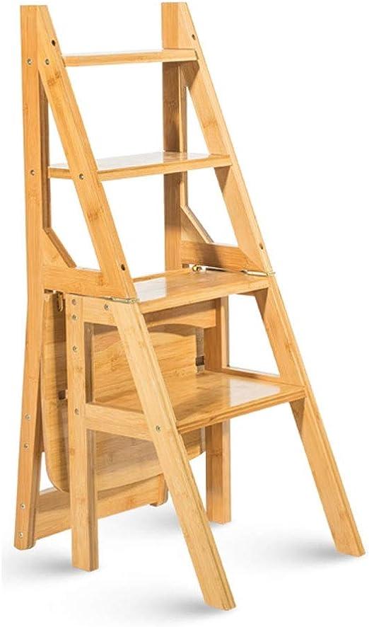 YULAN Escalera multifunción Taburete de la casa Plegable de Madera Maciza para niños Espacio Escalera de Cuatro Pasos Escalera Ascendente 40 * 39 * 90 (Color : Log Color): Amazon.es: Hogar