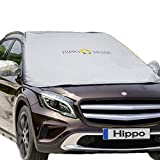 "Windshield Snow Cover,Hippo Magnetic Windshield Cover & Mirror Covers Used for Storage Pouch - Ice Sun Frost and Wind Proof in All Weather, Fit for Most Vehicle with Size 74.86""×49.25""(Sliver)"