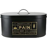 LA BOITE A BT6671 Boite à Pain, Metal, Noir-Doré, 34,5 x 20 x 18,5 cm
