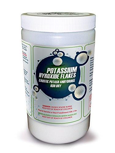 Pure Potassium Hydroxide Flakes   2 Lb  Caustic Potash Anhydrous Koh Dry