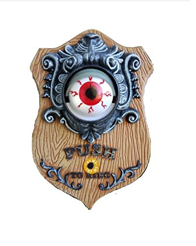 9 Inch Animated LED Light Up Eyeball Doorbell - Spooky Halloween Sounds