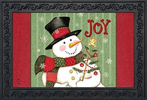 Briarwood Lane Snowman Joy Christmas Doormat Primitive Holiday Indoor Outdoor 18 x 30