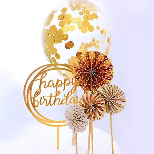 Cupcake Birthday Cakes (RESTARDS Happy Birthday Cake Topper Acrylic Cupcake Topper, A Series of Gold Paper Fans Confetti Balloon Birthday Cake Supplies)