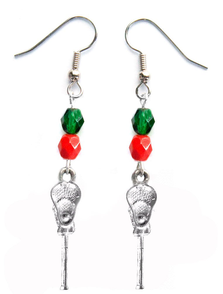 ''Lacrosse Stick & Ball'' Lacrosse Earrings (Team Colors Forest Green & Red)