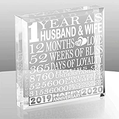 Kate Posh 1 Year As Husband And Wife Our First Anniversary Gift Paperweight And Keepsake Includes 2017 Marriage Year And 2018 1st Anniversary Year 1st Anniversary Gifts For Couples Amazon Com Au Home