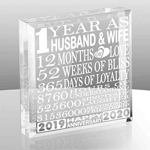 KATE POSH First 1 Year as Husband and Wife Paperweight and Keepsake  Includes 2019 Marriage Year and 2020 1st Anniversary Year  1st for Couples