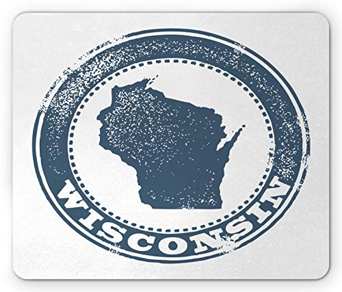 (Ambesonne Wisconsin Mouse Pad, Retro Grunge Stamp Design Political Map Silhouette and Name Badger State, Standard Size Rectangle Non-Slip Rubber Mousepad, Slate Blue White)