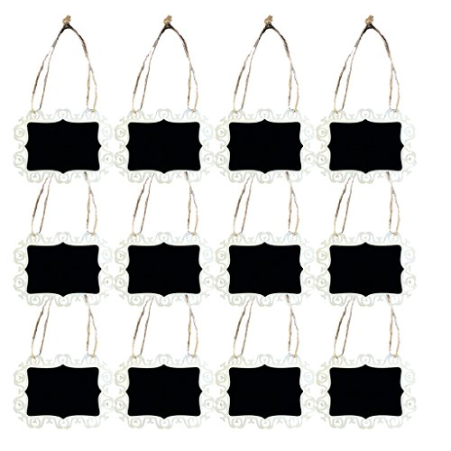 MonkeyJack 12 Pieces Mini Wooden Chalkboards Decorative Blackboard Message Boards Tags for Wedding Party Favors with String