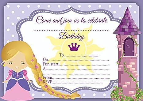 10 x Rapunzel con texto en inglés y de Enredados niños tarjetas de invitación para fiestas: Amazon.es: Oficina y papelería