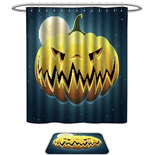 QianHe Bathroom Sets Non SlipVector Scary Halloween Pumpkin3.