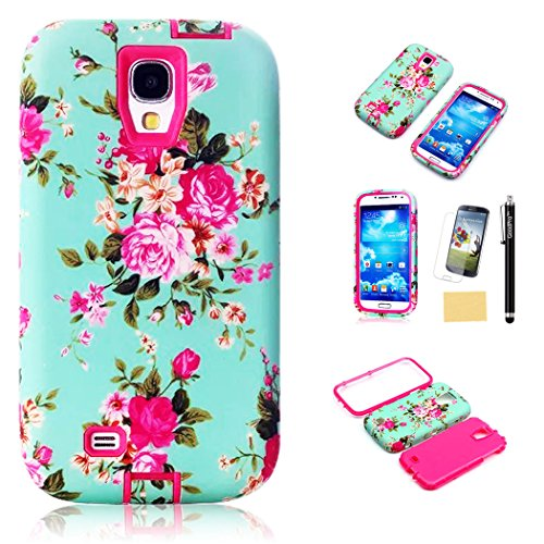 S4 Case, Galaxy S4 Case, GoodPro™ Powerful Protection [3IN1 Paint Flower Design] (Red), Hybrid Hard Soft Durable Bumper Case Armor Case Back Cover Case for Samsung Galaxy S4, Included (Screen Protector, Stylus and Cleaning Cloth), Samsung Galaxy S4 Case