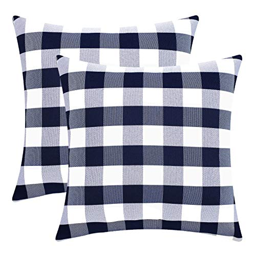 Checkered Pillow (Sunfay Decorative Throw Pillow Covers Checkered Plaids Cushion Covers Set Soft Farmhouse Dector for Sofa Couch Bedroom 2 Pack 18
