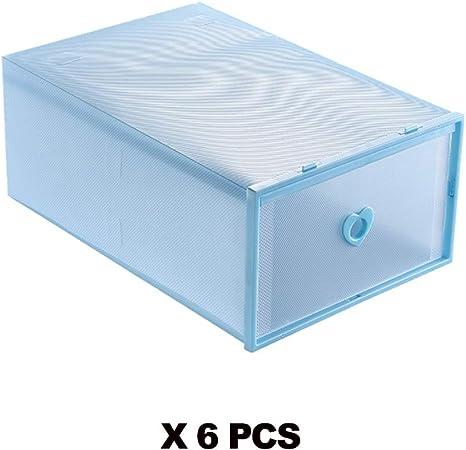 HXZB 6PCS Combinación Libre Zapatos Caja Espesado Transparente del Zapato del Cajón Caja De Plástico Cajas Apilables De Zapatos Caja De Zapatos Organizador De Almacenamiento Zapatero,35X24X12CM: Amazon.es: Hogar