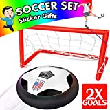AMENON Hover Soccer Ball Sport Toys for Kids, Air Power Soccer Set 2 Goals LED Light, Training Football Disk Indoor Outdoor Ball Games Holiday Toys Boys Girls Birthday Gifts (Soccer Ball)