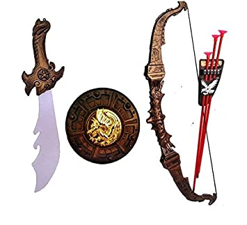 HALO NATION Bahubali Warrior Set - Knights Fancy Dress Kids Cosplay - Armagadon Sword, Sheild, Bow & 3 Arrows
