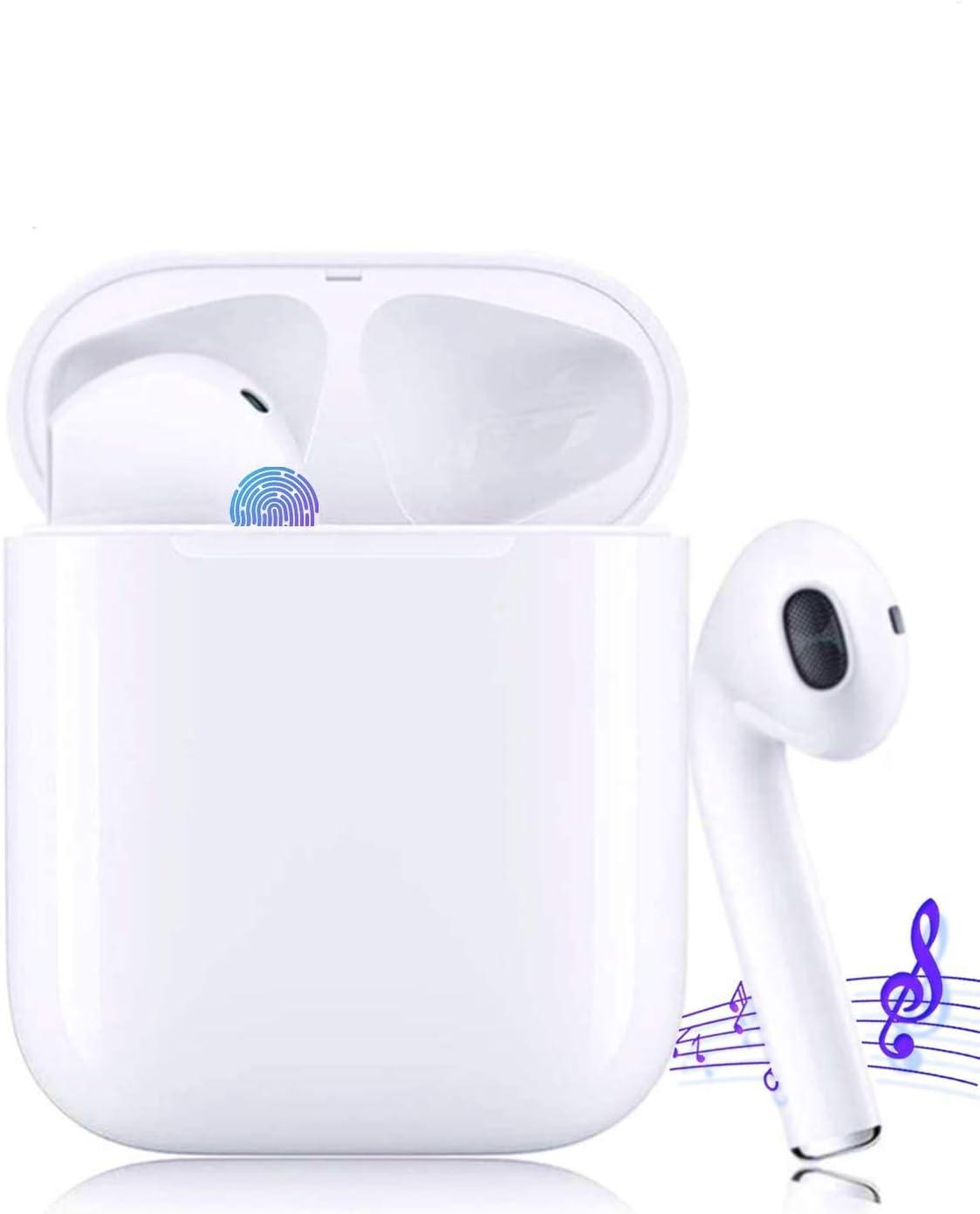 Auricular inalámbrico Bluetooth 5.0, Auricular inalámbrico estéreo 3D con función Impermeable IPX5, emparejamiento automático, con Caja de Carga, Adecuado para Deportes y Ocio.