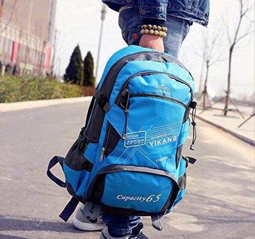 LQABW Nueva Mochila Al Aire Libre De Gran Capacidad De Hombro Hombre Y Mujer Impermeable Estudiante De Viaje De Equipo De Montaña De Escalada De Nylon De Senderismo Mochila 65L,Pink Blue