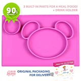 Silicone Placemat + plate with 3 built-in dividers + Cup Holder- for baby and toddlers- non-slip -dishwasher safe,microwave safe,BPA Free-90days warranty-Packaging with protection from damage (Pink)