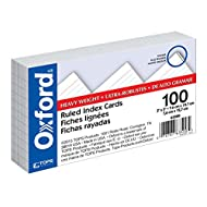 "Oxford Heavy Weight Index Cards, 3"" x 5"", Ruled, White, 100/Pack (63500)"