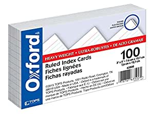 """Oxford Heavy Weight Index Cards, 3"""" x 5"""", Ruled, White, 100/Pack (63500)"""