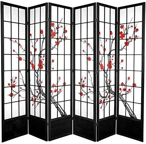 Oriental Furniture 7 ft. Tall Cherry Blossom Shoji Screen – Black – 6 Panels