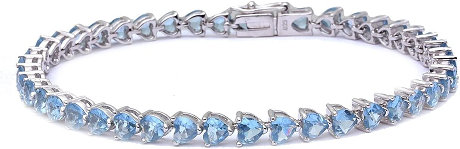 Sterling Silver Genuine Created or Simulated Gemstone Round S Design Tennis Bracelet