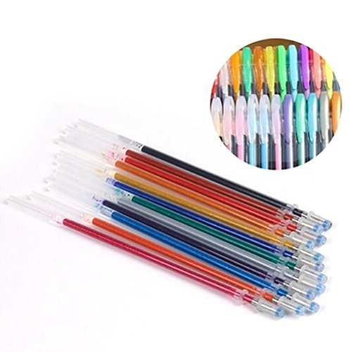 SUKEQ 48pcs Coloring Gel Refills Set, Glitter Metallic Pastel Fluorescence Neon Pen Ink Refills with Diamond Tip for Adult Coloring Books, Scrapbooking, Drawing, Dooling by SUKEQ (Image #5)
