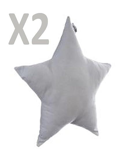 Lote de 2 cojines, diseño en forma de estrella, color Gris ...