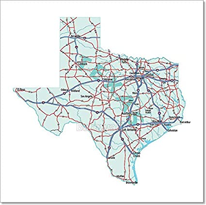 Road Map Of Texas State.Amazon Com Barewalls Texas State Road Map Paper Print Wall Art 8in